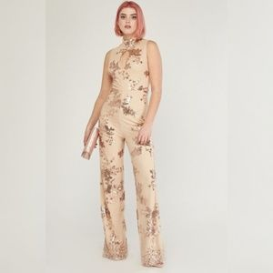 Pants - Nude Jumpsuits Rose Gold Sequin Outfit Pant High
